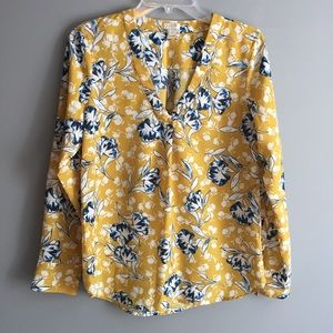 J. Crew Mustard Yellow Floral Long Sleeve Blouse S